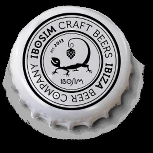 Chapa de Ibosim Craft Beers Ibiza Beer Company, con logo de lagartija