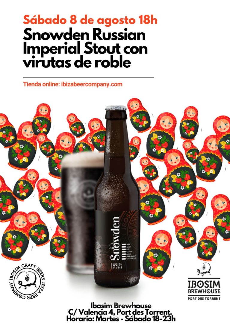 Snowden Russian Imperial Stout. Ibiza Beer Company. Ibosim Brewery Ibiza