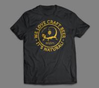 Camiseta negra texto amarillo We love craft beer it's natural Cervezas Ibosim. Cerveza Ibiza