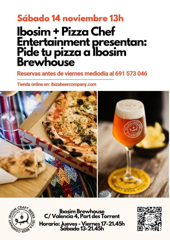 Pizza Manolo Ibosim. Pizza Chef Entertainment Ibiza. Cerveza Ibiza